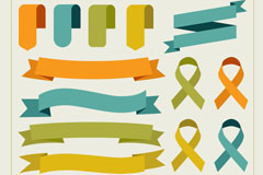 13款扁平化丝带设计矢量素材