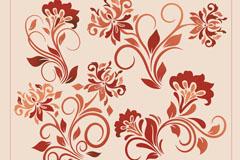 4款红色新艺术风格花卉矢量素材
