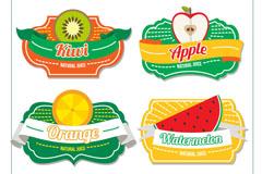 4款精致水果汁标签矢量素材