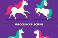 4款彩色鬓毛独角兽矢量素材