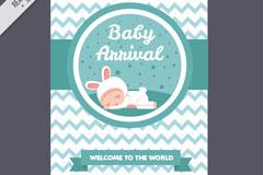 可爱兔子装婴儿迎婴卡片矢量素材