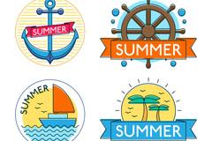 4款彩色夏季标签矢量素材