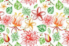 彩绘热带花朵无缝背景矢量素材