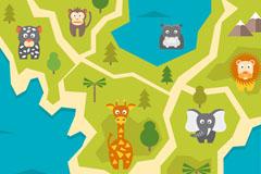 创意动物园动物分布地图矢量素材