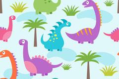 可爱恐龙和植物无缝背景矢量图