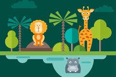 3只扁平化动物园动物矢量素材