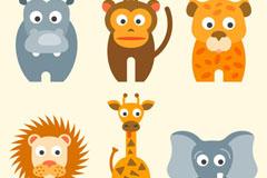6款扁平化卡通非洲动物矢量素材