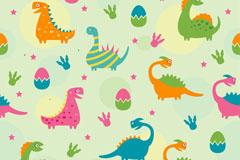 彩色恐龙蛋和恐龙无缝背景矢量图