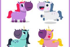 4款可爱卡通独角兽矢量梦之城娱乐