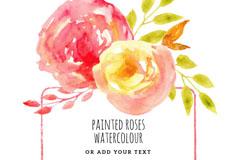 水彩玫瑰花框架矢量素材