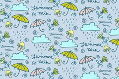 彩绘雨云和雨伞无缝背景矢量素材