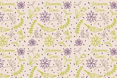 彩绘夏季花朵和叶子无缝背景矢量图