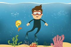 卡通潜水男子和海底珊瑚矢量素材