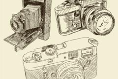 3款手绘相机设计矢量素材