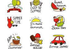 9款彩绘夏季标签矢量素材