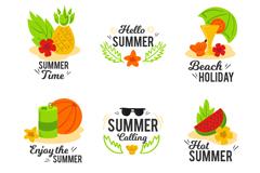 6款彩色夏日标签矢量素材