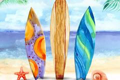 3个立在沙滩上的彩色冲浪板矢量素材