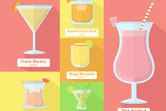 6款彩色夏季鸡尾酒矢量素材
