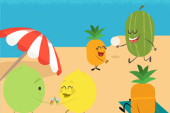 创意海边度假的水果们矢量素材