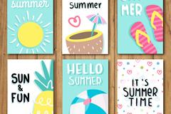 6款夏季度假卡片设计矢量素材