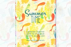 水彩绘夏季派对邀请卡矢量素材