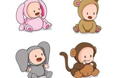4款可爱动物装婴儿矢量素材