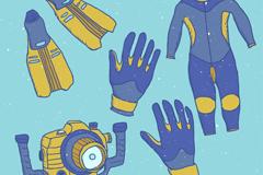 5款蓝色潜水用品元素矢量素材