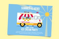 卡通雪糕车夏季派对邀请卡矢量素材