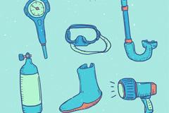 6款彩绘潜水用品元素矢量素材