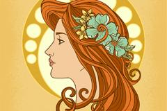 美丽女子侧脸和头饰矢量素材