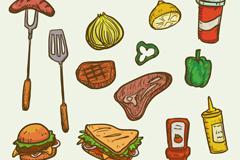 13款野餐烧烤食物和物品矢量图