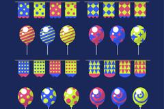 16款彩色拉旗和气球矢量素材
