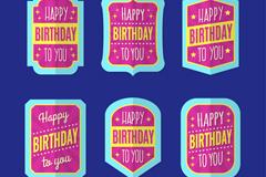 6款蓝色边粉色生日祝福标签矢量图