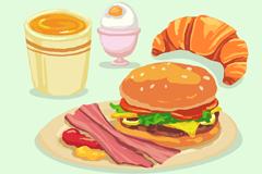 4款美味西式早餐食物矢量素材