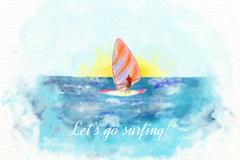 水彩绘大海中的冲浪帆板矢量素材