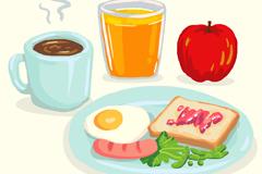 水彩绘美味早餐食物矢量素材