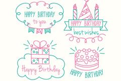 4款彩绘线条生日快乐徽章矢量素材