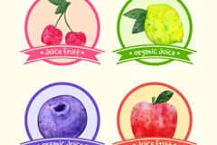 4款水彩绘果汁标签矢量素材