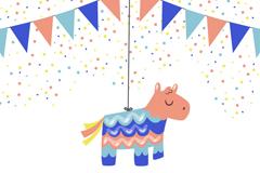 彩色拉旗和花纹马吊饰矢量素材