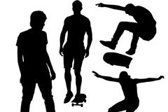 4款玩滑板的男子剪影矢量素材