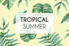 夏季热带树叶无缝背景矢量素材