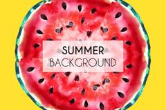水彩绘夏季西瓜切面矢量素材