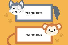 2款创意动物猴子和狼框架设计矢