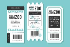 3款白色动物园门票设计矢量素材