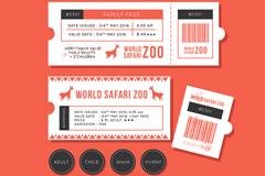 创意野生动物园门票矢量素材