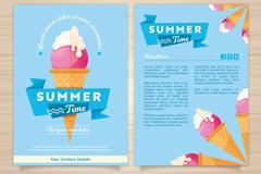 美味冰淇淋夏季度假宣传单矢量素材