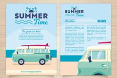 创意游览车夏日假期宣传单矢量图