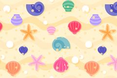 彩色贝壳和海星无缝背景矢量素材