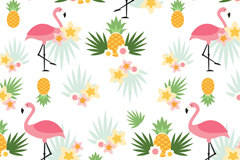创意菠萝和火烈鸟无缝背景矢量图