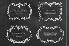 4款黑板复古花纹框架矢量素材